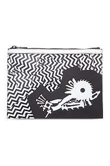 KENZO Broken stripe leather pouch