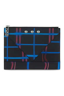 KENZO Neon plaid print leather pouch