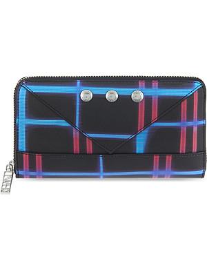 KENZO Neon plaid leather purse