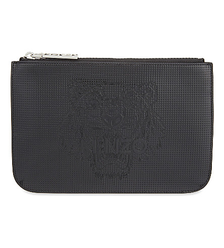 KENZO Tiger leather pouch (Black