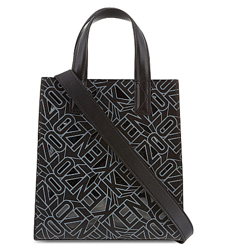 KENZO Cutout logo small leather tote (Black