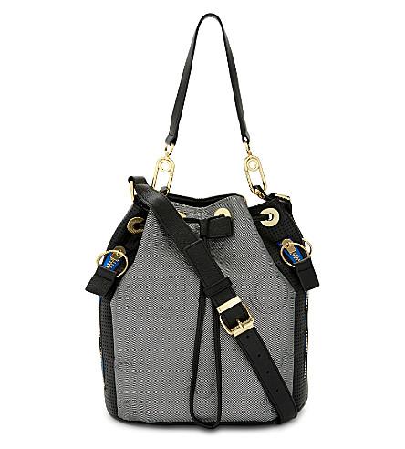 KENZO Kombo neoprene & leather bucket bag (Silver/gold