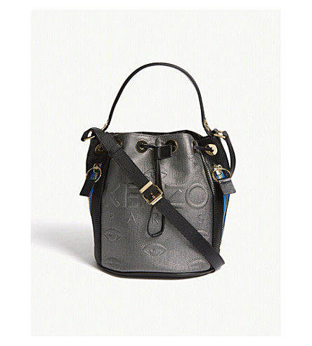 KENZO Kombo neoprene & leather bucket bag (Silver