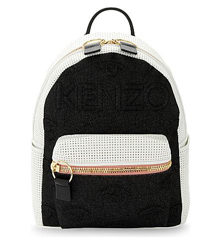 KENZO Neoprene & leather backpack (White black