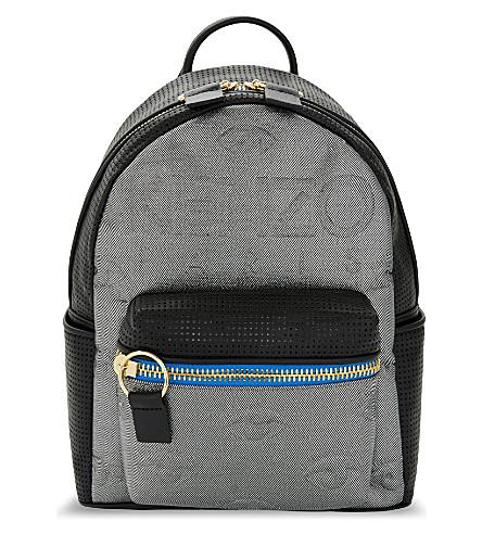 KENZO Neoprene & leather backpack (Silver/gold