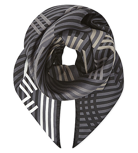 KENZO Graphic logo silk scarf (Black