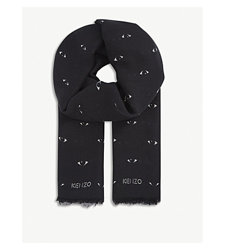 KENZO Eyes-all-over print modal-silk blend scarf (Black
