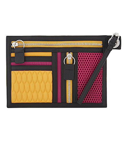 KENZO Neoprene and leather pouch (Fuschia