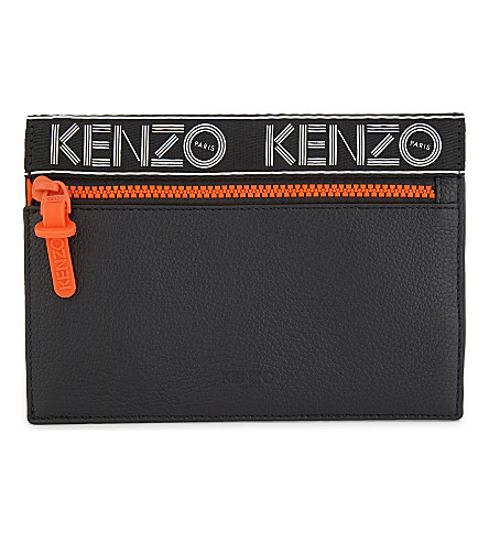 KENZO Sport grained leather pouch (Black