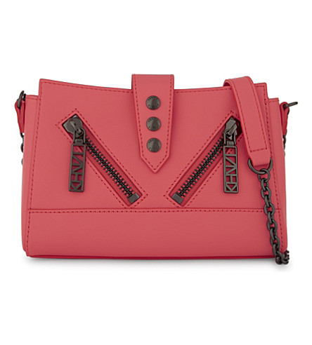 KENZO Kalifornia leather mini cross-body bag (Coral