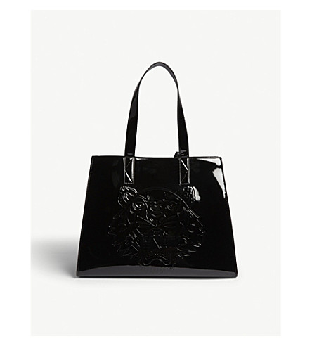 KENZO Large tiger pattern leather tote (Black