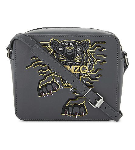 KENZO 'Geo Tiger' leather camera bag (Anthracite
