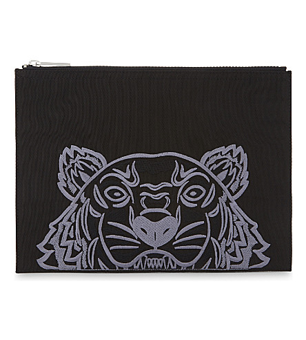 KENZO Tiger canvas pouch (Black