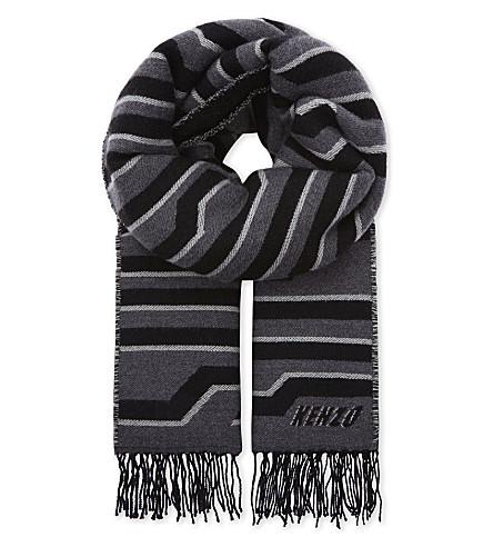 KENZO Tiger-skin print woollen stole (Pale+grey