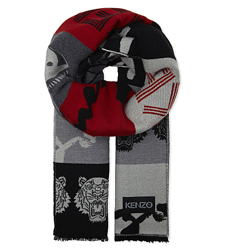 KENZO Logo wool and silk-blend scarf (Multi