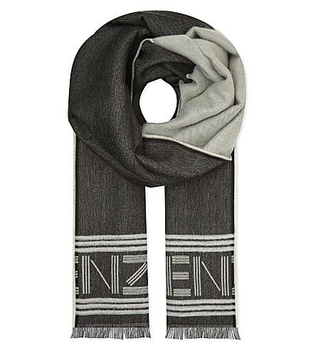 KENZO Wool-modal blend stole (Black