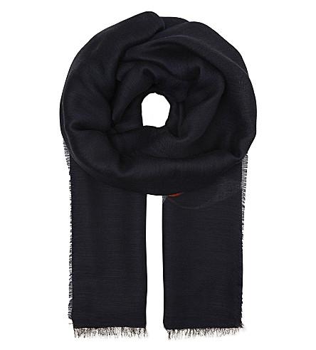 KENZO Eye print wool-blend scarf (Ink