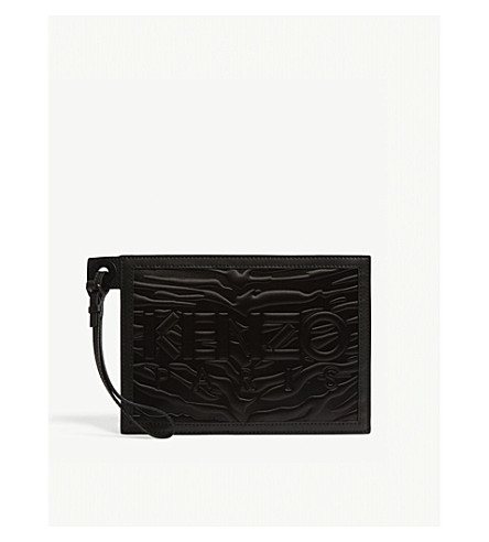 KENZO Kombo satin and leather pouch (Black