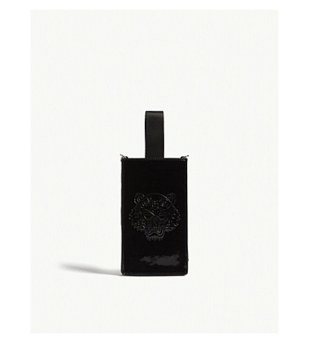 KENZO Tiger patent leather phone holder on chain (Black