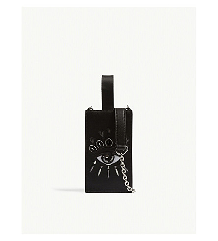 KENZO Icons Eye leather phone holder on chain (Black