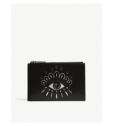 KENZO Icons Eye leather pouch (Black