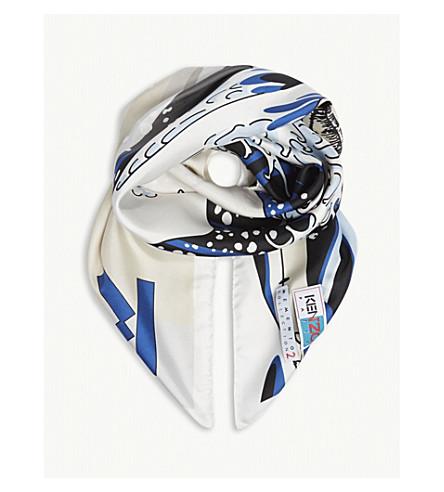 KENZO Wave print silk scarf (White