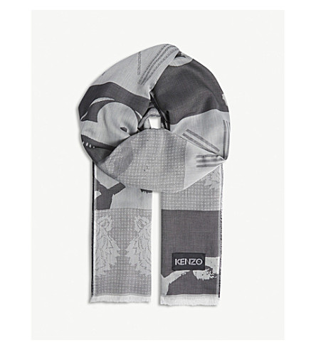 KENZO Icon jacquard cotton scarf (Anthracite