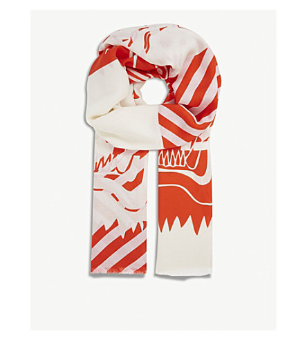 KENZO Double tiger print scarf (Red