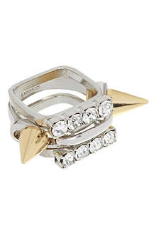 JOOMI LIM Set of three spike and crystal rings
