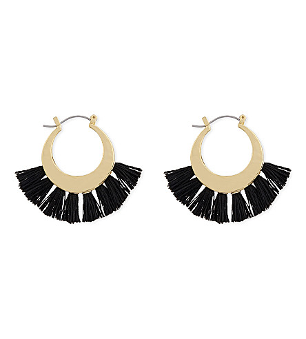 REBECCA MINKOFF Palm tassel hoop earrings (Black