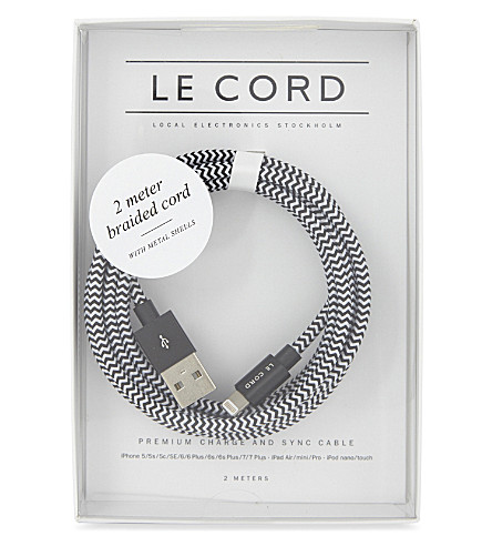 LE CORD Braided charge and snyc cable 2m (Blackwhite