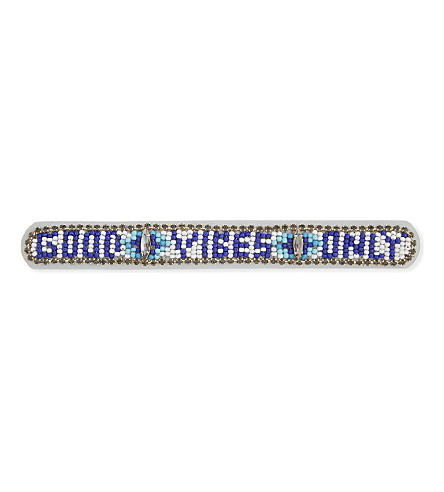 REBECCA MINKOFF Good Vibes leather friendship bracelet (Blue+multi
