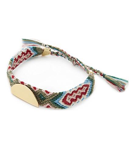 REBECCA MINKOFF Taco stud friendship bracelet (Gold/green