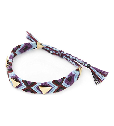 REBECCA MINKOFF Triangular stud friendship bracelet (Gold/purple