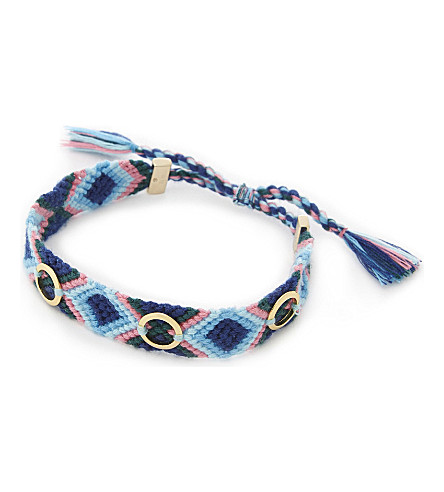 REBECCA MINKOFF Grommet studded friendship bracelet (Gold/navy