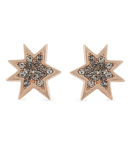 REBECCA MINKOFF Pow stud earrings (Rose+gold/black+diamond