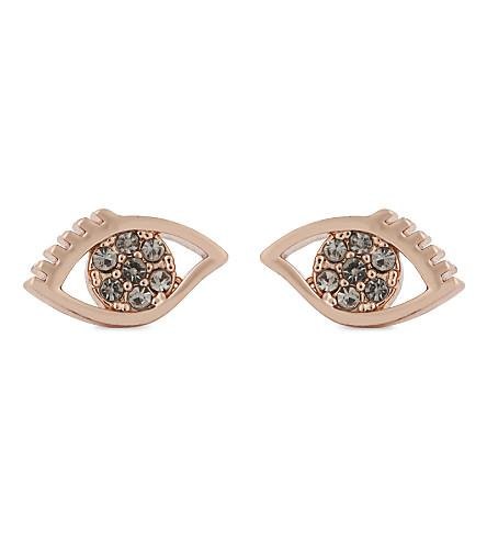 REBECCA MINKOFF Evil eye stud earrings (Rose+gold/black+diamond