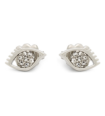 REBECCA MINKOFF Evil eye stud earrings (Silver/crsytal
