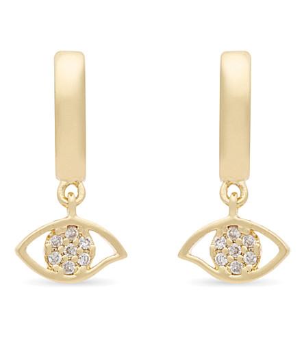 REBECCA MINKOFF Evil Eye huggie hoop earrings (Gold/crystal