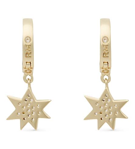 REBECCA MINKOFF Pow huggie hoop earrings (Gold/crystal