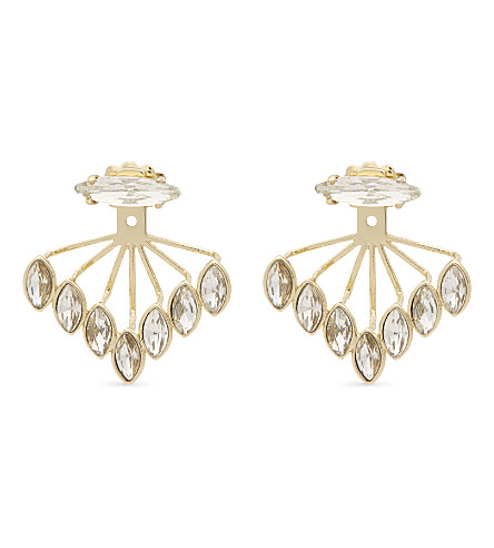 REBECCA MINKOFF Crystal ear jackets (Gold/crystal