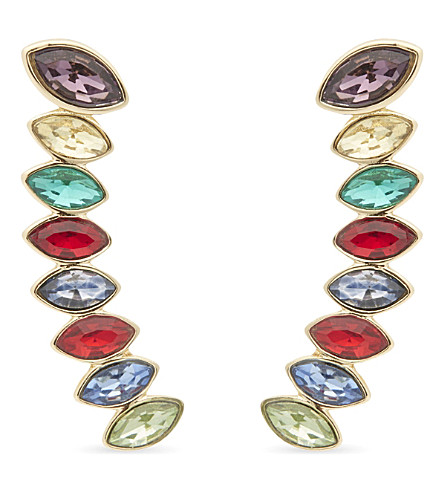 REBECCA MINKOFF Stacked crystal ear climber earrings (Gold/true+multi
