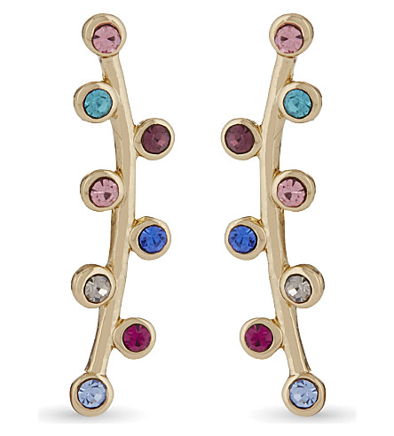 REBECCA MINKOFF Bubble stone climber earrings (Gold/bright+multi