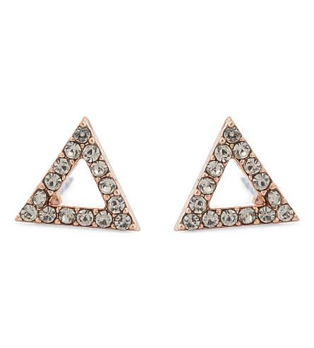 REBECCA MINKOFF Triangle stud earrings (Rose+gold/black+diamond