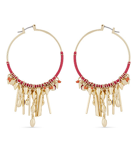 REBECCA MINKOFF Gemma charm hoop earrings (Gold/pink