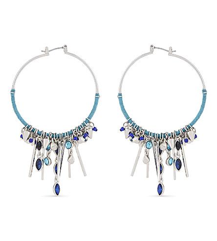 REBECCA MINKOFF Gemma charm hoop earrings (Silver/blue