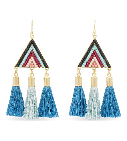 REBECCA MINKOFF Catalina seed bead earrings (Gold/blue+multi