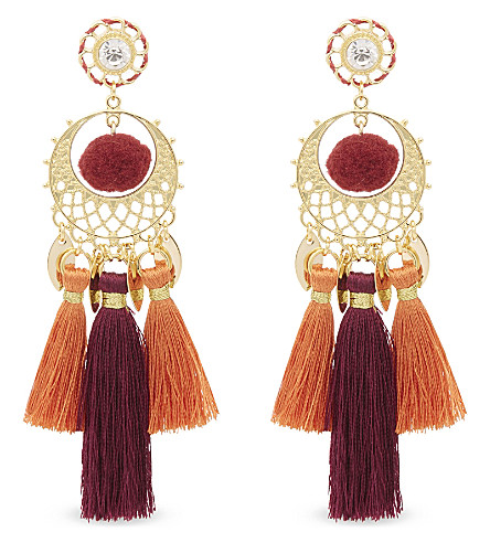 REBECCA MINKOFF Tassel chandelier earrings (Gold/warm+multi