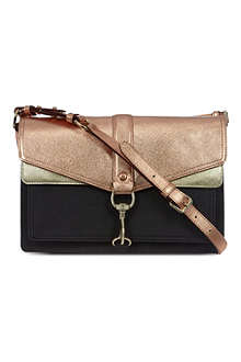 REBECCA MINKOFF Hudson moto colour blocked satchel