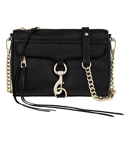 REBECCA MINKOFF Mini Mac grained leather shoulder bag (Black/gold